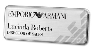 Prestige Premium name badges - Silver border and brushed silver background | www.namebadgesinternational.ae
